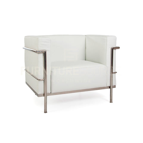 LC3 Grand Comfort Arm Chair in Genuine Italian Leather Le Corbusier Style - White , Arm Chair - FSWorldwide, FSWorldwide  - 1