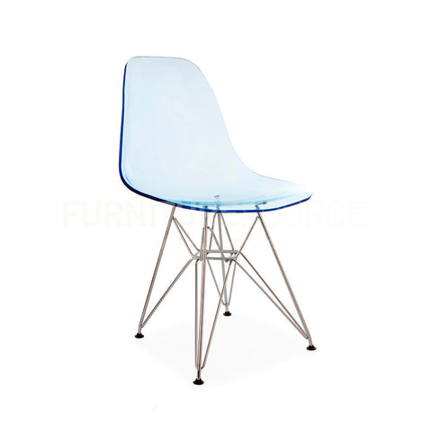 Ghost Molded ACRYLIC Eiffel Base DSR Mid Century Modern Side Chair Eames Style - Blue , Dining chairs - FSWorldwide, FSWorldwide  - 1