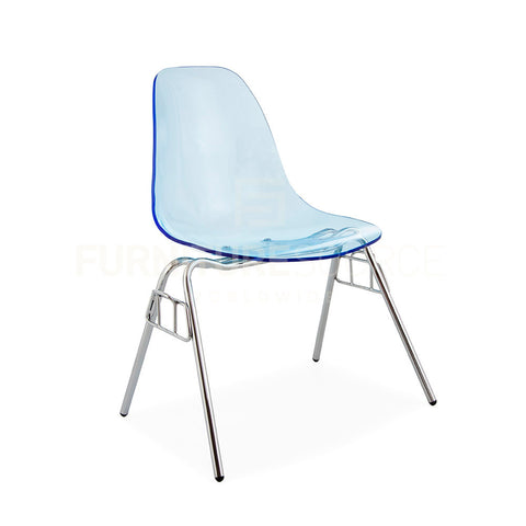 Ghost ACRYLIC Stacking DSS Mid Century Modern Dining Side Chair Eames Style - Blue , Dining chairs - FSWorldwide, FSWorldwide  - 1