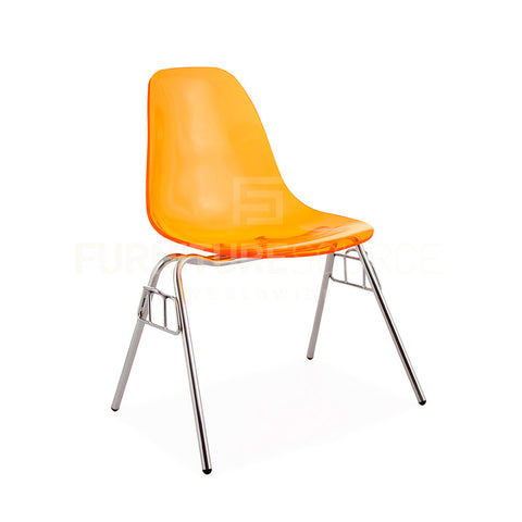 Ghost ACRYLIC Stacking DSS Mid Century Modern Dining Side Chair Eames Style - Orange , Dining chairs - FSWorldwide, FSWorldwide  - 1