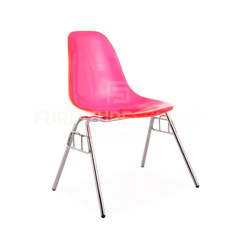 Ghost ACRYLIC Stacking DSS Mid Century Modern Dining Side Chair Eames Style - Pink , Dining chairs - FSWorldwide, FSWorldwide  - 1
