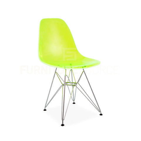 Ghost Molded ACRYLIC Eiffel Base DSR Mid Century Modern Side Chair Eames Style - Green , Dining chairs - FSWorldwide, FSWorldwide  - 1
