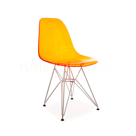 Ghost Molded ACRYLIC Eiffel Base DSR Mid Century Modern Side Chair Eames Style - Orange , Dining chairs - FSWorldwide, FSWorldwide  - 1