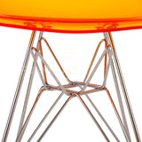 Ghost Molded ACRYLIC Eiffel Base DSR Mid Century Modern Side Chair Eames Style - Orange , Dining chairs - FSWorldwide, FSWorldwide  - 5