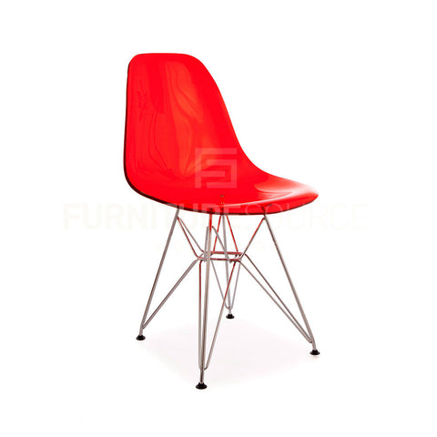 Ghost Molded ACRYLIC Eiffel Base DSR Mid Century Modern Side Chair Eames Style - Red , Dining chairs - FSWorldwide, FSWorldwide  - 1