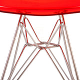 Ghost Molded ACRYLIC Eiffel Base DSR Mid Century Modern Side Chair Eames Style - Red , Dining chairs - FSWorldwide, FSWorldwide  - 5