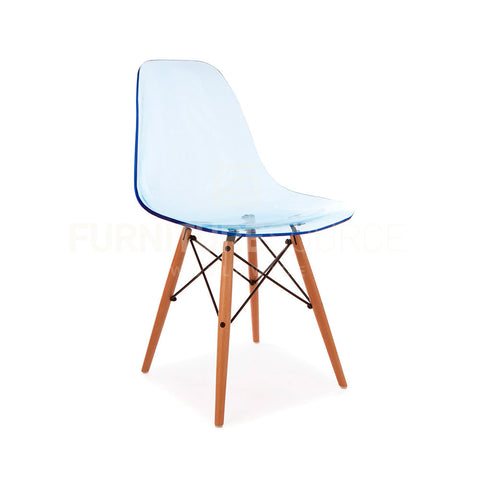Ghost Molded ACRYLIC Beech Wood Leg DSW MidCentury Modern Side Chair Eames Style - Blue , Dining chairs - FSWorldwide, FSWorldwide  - 1