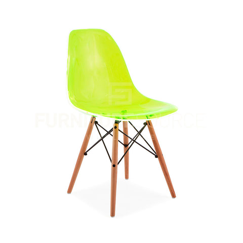 Ghost Molded ACRYLIC Beech Wood Leg DSW MidCentury Modern Side Chair Eames Style - Green , Dining chairs - FSWorldwide, FSWorldwide  - 1