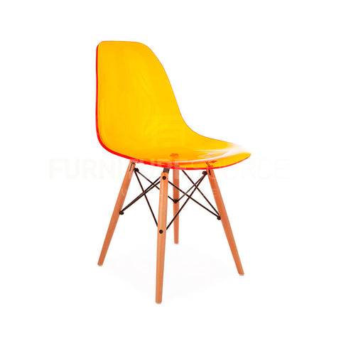 Ghost Molded ACRYLIC Beech Wood Leg DSW MidCentury Modern Side Chair Eames Style - Orange , Dining chairs - FSWorldwide, FSWorldwide  - 1