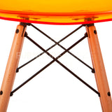 Ghost Molded ACRYLIC Beech Wood Leg DSW MidCentury Modern Side Chair Eames Style - Orange , Dining chairs - FSWorldwide, FSWorldwide  - 5