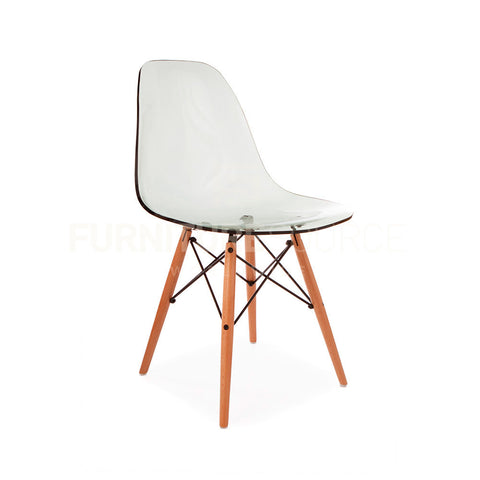 Ghost Molded ACRYLIC Beech Wood Leg DSW MidCentury Modern Side Chair Eames Style - Gray , Dining chairs - FSWorldwide, FSWorldwide  - 1