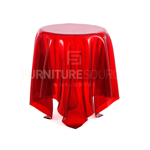 Retro Modern Illusion Side & Coffee Table made with Heat Molded Durable Acrylic - Red , Side & Coffee Table - FSWorldwide, FSWorldwide  - 1