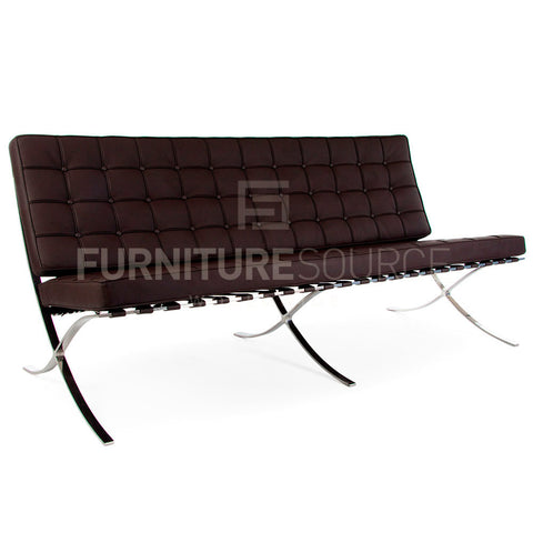 Barcelona Style 3 Seat Pavillion Sofa Premium Genuine Full Italian Leather - Brown , Sofa - FSWorldwide, FSWorldwide  - 1