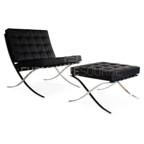 Barcelona Style Pavillion Chair & Ottoman Set in Premium Genuine Italian Leather - Black , Sofa Set - FSWorldwide, FSWorldwide  - 1