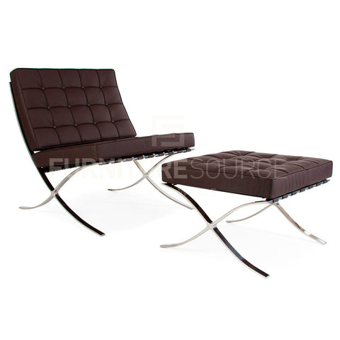 Barcelona Style Pavillion Chair & Ottoman Set in Premium Genuine Italian Leather - Brown , Sofa Set - FSWorldwide, FSWorldwide  - 1