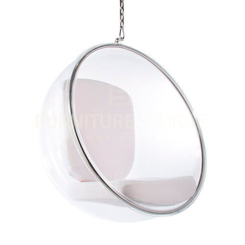 Premium Quality Iconic Bubble Hanging Chair Eero Aarnio Style - White Cushion , Chair - FSWorldwide, FSWorldwide  - 1
