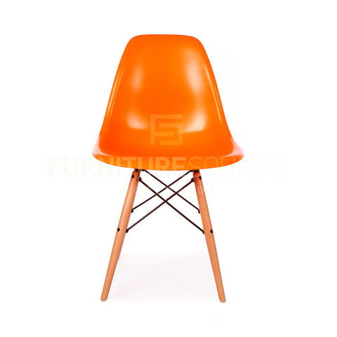 A DSW Plastic Lounge Dining Wood Leg Chair Eames Style - Orange , Chair - FSWorldwide, FSWorldwide  - 1