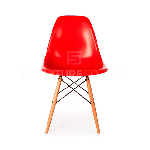 A DSW Plastic Lounge Dining Wood Leg Chair Eames Style - Red , Chair - FSWorldwide, FSWorldwide  - 1