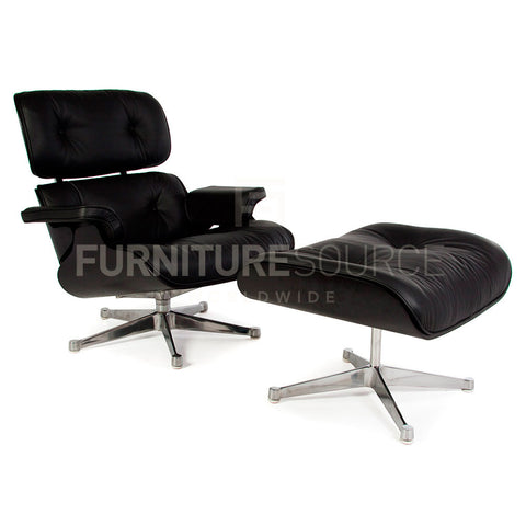 Special Lounge Chair And Ottoman Stool In Style Of Charles & Ray Eames - All Black Edition , Chair - FSWorldwide, FSWorldwide  - 1