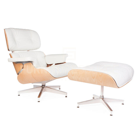 Special Lounge Chair And Ottoman Stool In Style Of Charles & Ray Eames - White Hot Edition , Chair - FSWorldwide, FSWorldwide  - 1