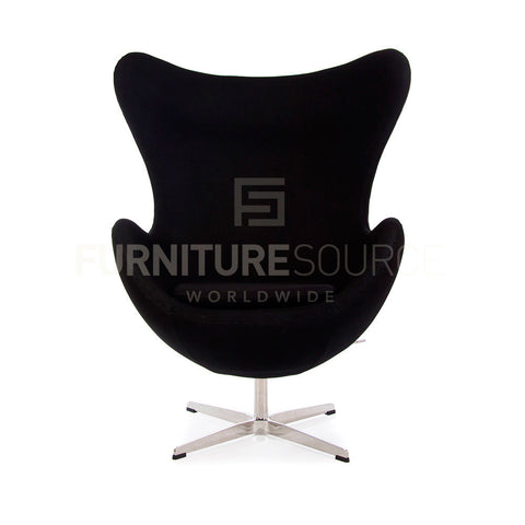 Arne Jacobsen Style Egg Chair - Cashmere Black Fabric , Chair - FSWorldwide, FSWorldwide  - 1