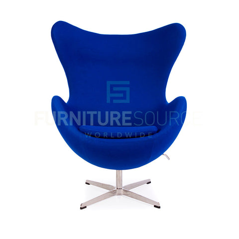 Arne Jacobsen Style Egg Chair - Cashmere Blue Fabric , Chair - FSWorldwide, FSWorldwide  - 1