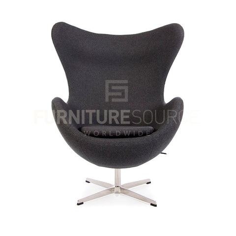 Arne Jacobsen Style Egg Chair - Cashmere Grey Fabric , Chair - FSWorldwide, FSWorldwide  - 1