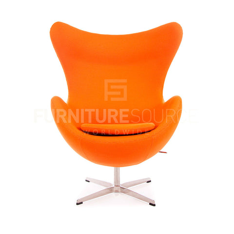 Arne Jacobsen Style Egg Chair - Cashmere Orange Fabric , Chair - FSWorldwide, FSWorldwide  - 1