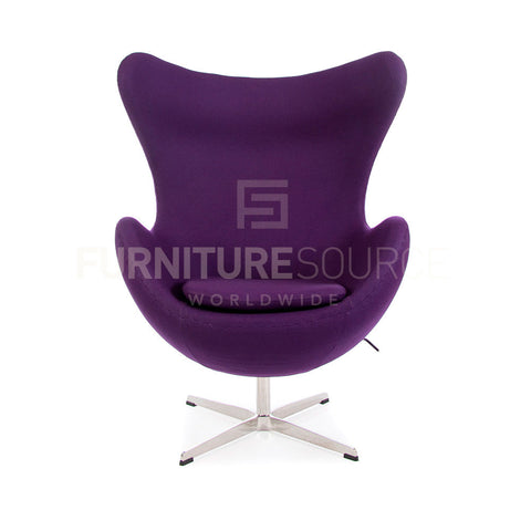 Arne Jacobsen Style Egg Chair - Cashmere Purple Fabric , Chair - FSWorldwide, FSWorldwide  - 1