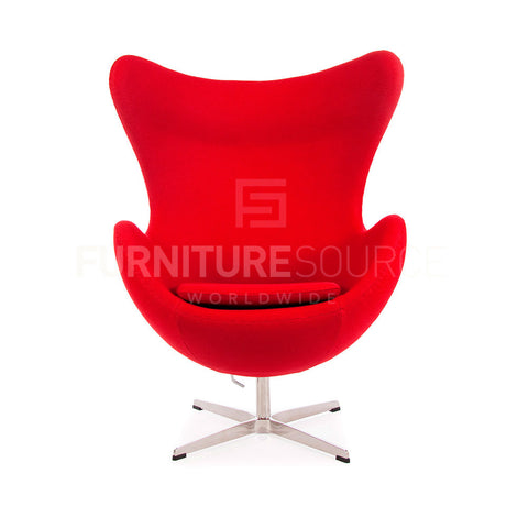Arne Jacobsen Style Egg Chair - Cashmere Red Fabric , Chair - FSWorldwide, FSWorldwide  - 1