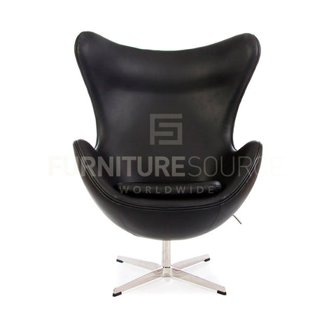 Arne Jacobsen Style Egg Chair - Black Full Italian Leather , Chair - FSWorldwide, FSWorldwide  - 1