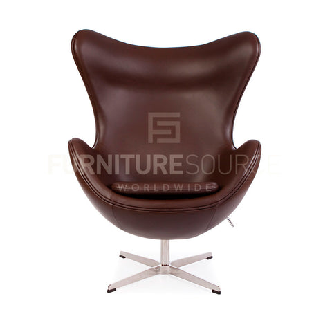 Arne Jacobsen Style Egg Chair - Brown Full Italian Leather , Chair - FSWorldwide, FSWorldwide  - 1