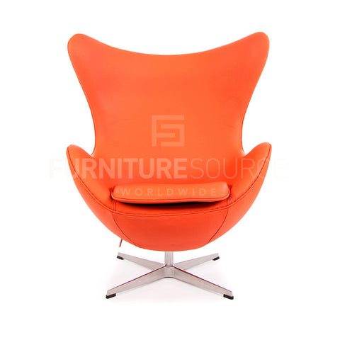 Arne Jacobsen Style Egg Chair - Orange Full Italian Leather , Chair - FSWorldwide, FSWorldwide  - 1