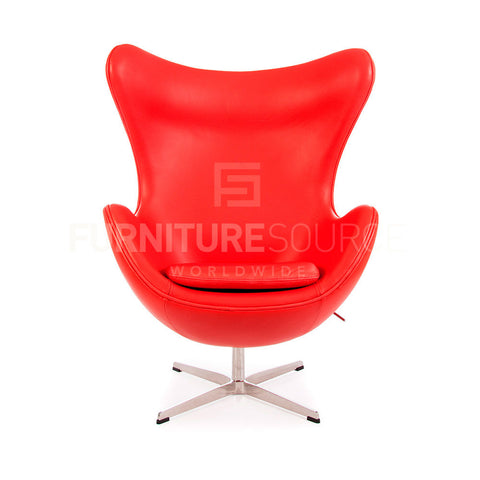 Arne Jacobsen Style Egg Chair - Red Full Italian Leather , Chair - FSWorldwide, FSWorldwide  - 1