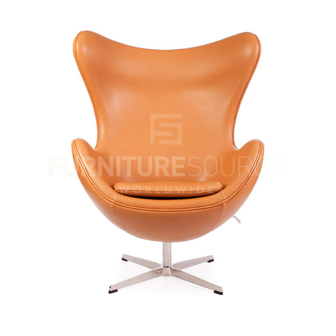 Arne Jacobsen Style Egg Chair - Tan Full Italian Leather , Chair - FSWorldwide, FSWorldwide  - 1