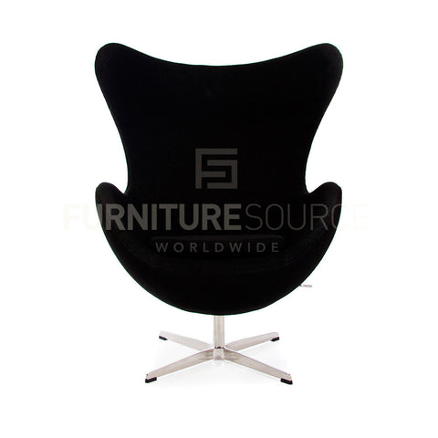 Arne Jacobsen Style Egg Chair - Soft Wool Black Fabric , Chair - FSWorldwide, FSWorldwide  - 1