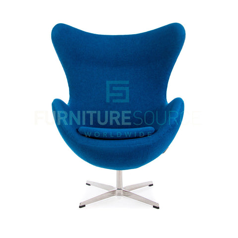 Arne Jacobsen Style Egg Chair - Soft Wool Blue Fabric , Chair - FSWorldwide, FSWorldwide  - 1