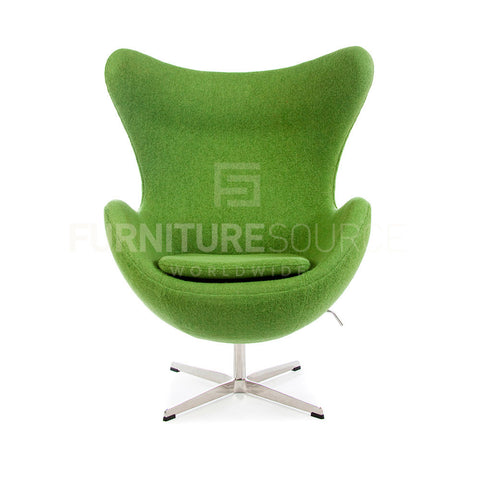 Arne Jacobsen Style Egg Chair - Soft Wool Olive Fabric , Chair - FSWorldwide, FSWorldwide  - 1