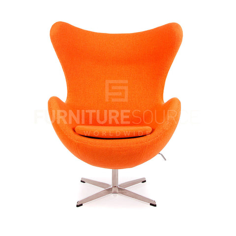 Arne Jacobsen Style Egg Chair - Soft Wool Orange Fabric , Chair - FSWorldwide, FSWorldwide  - 1