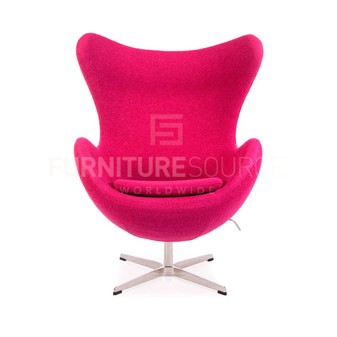 Arne Jacobsen Style Egg Chair - Soft Wool Pink Fabric , Chair - FSWorldwide, FSWorldwide  - 1