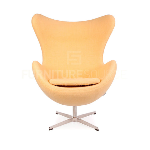 Arne Jacobsen Style Egg Chair - Soft Wool Mustard Yellow Fabric , Chair - FSWorldwide, FSWorldwide  - 1