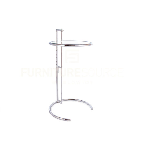 Iconic Eileen Gray Style Adjustable Height Side Table, Tempered Glass Top , Side Table - FSWorldwide, FSWorldwide  - 1