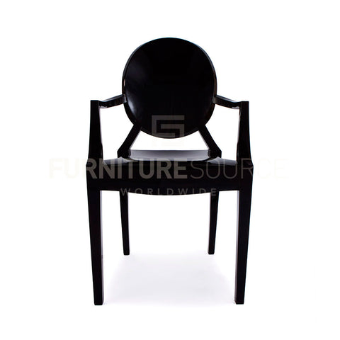 Philippe Starck Style Louis Ghost Arm Chair - Midnight Black Acrylic , Chair - FSWorldwide, FSWorldwide  - 1