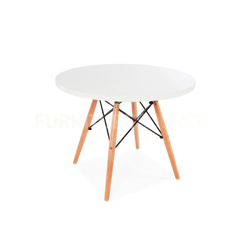 Kids Mid Century Modern Round Top DSW Wood Legs Dining Play Table Eames Style - White Top , Kids Table - FSWorldwide, FSWorldwide  - 1