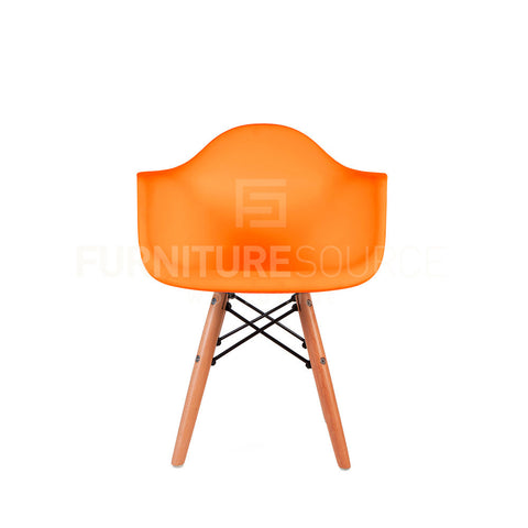 Kids - DAW Plastic Lounge Dining Wood Leg Chair Eames Style - Orange , Chair - FSWorldwide, FSWorldwide  - 1