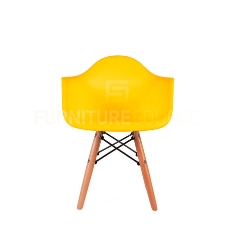 Kids - DAW Plastic Lounge Dining Wood Leg Chair Eames Style - Yellow , Chair - FSWorldwide, FSWorldwide  - 1