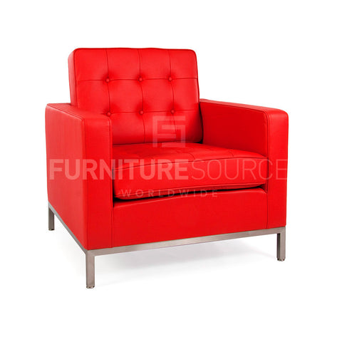 Florence Knoll Style Arm Chair, Genuine Full Italian Leather Red, Arm Chair - FSWorldwide, FSWorldwide  - 1
