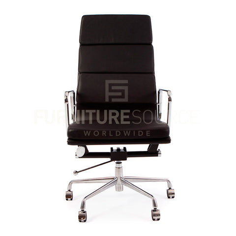 Soft Pad High Back Management Office Chair Eames Style - Black Leather , Chair - FSWorldwide, FSWorldwide  - 1