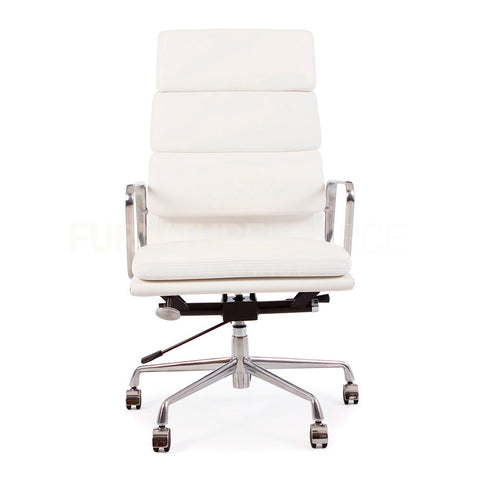 Soft Pad High Back Management Office Chair Eames Style - White Leather , Chair - FSWorldwide, FSWorldwide  - 1