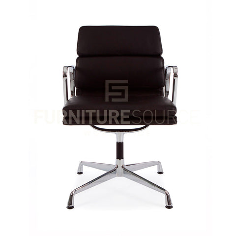 Soft Pad Low Back 2 Pad Office Chair Eames Style - Black Leather Gliding Base , Chair - FSWorldwide, FSWorldwide  - 1